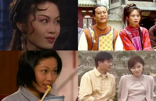左上图起:陈妙瑛在《西游记I&II》扮演白骨精;《金玉满堂》与欧阳震华合作饰演辛小小;右下图《大澳的天空》饰演第二女主角石欢喜;1997年与林家栋合演《隱形怪杰》饰演辛晓嵐。