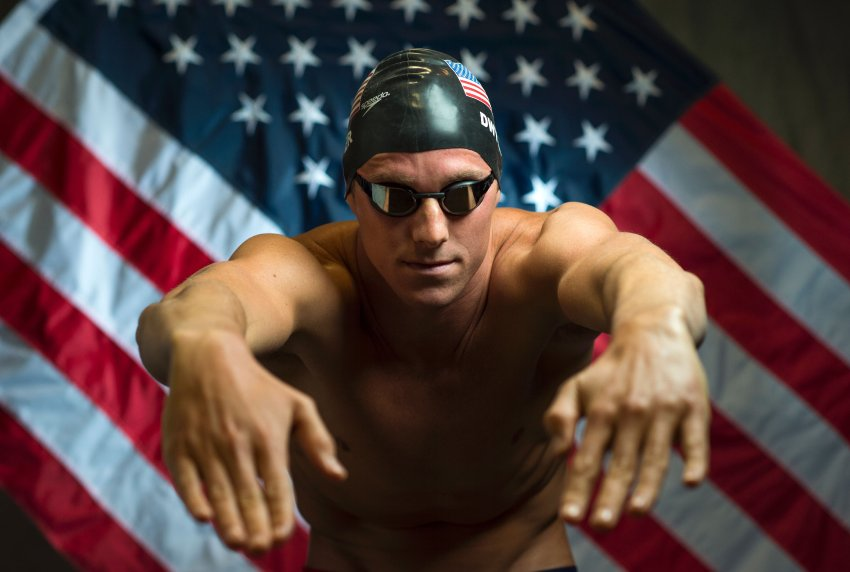Swimmer Conor Dwyer poses for a portrait at the 2016 Team USA Media Summit, March 7, 2016 in Beverly Hills, California. The 2016 Summer Olympics will be held in Rio de Janeiro, Brazil August 5-21. / AFP / VALERIE MACON / RESTRICTED TO EDITORIAL USE